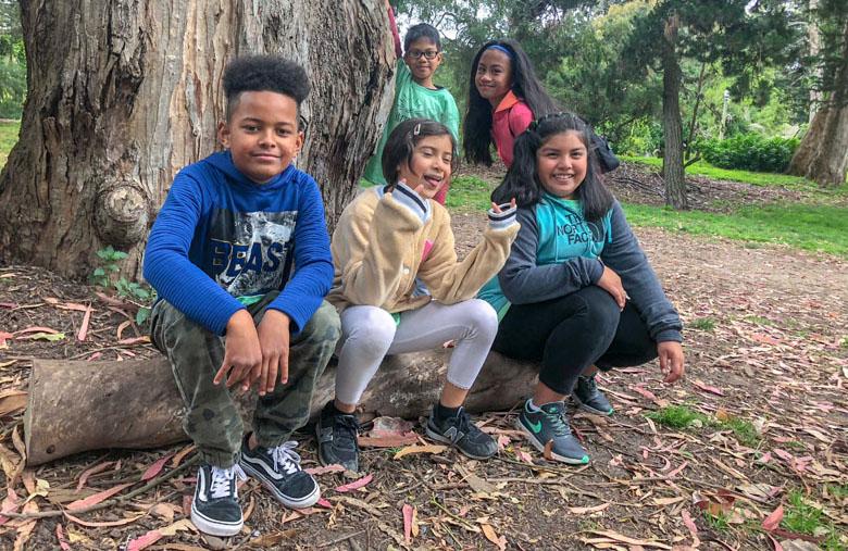 Kids explore the park.