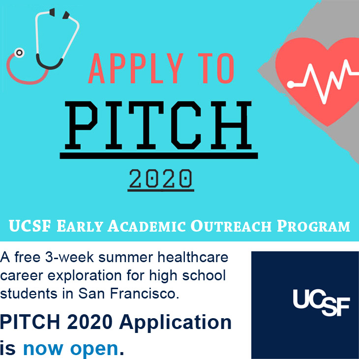 Apply to PITCH 2020: UCSF's free, 3-week summer healthcare career exploration for high school students in San Francisco