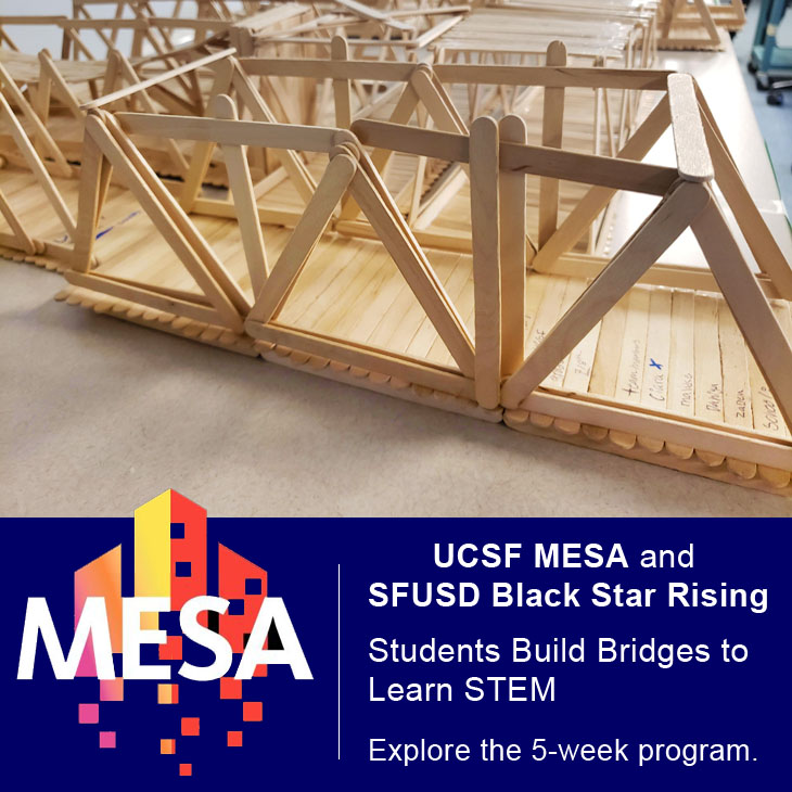 UCSF MESA and UCSFD Black Star Rising: Students build Bridges to Learn STEM. Learn more about the 5-week program.